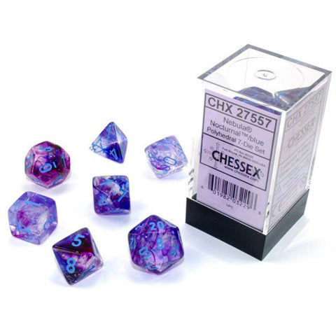 CHX 27557 Nebula Polyhedral Nocturnal/Blue Luminary 7-Die Set