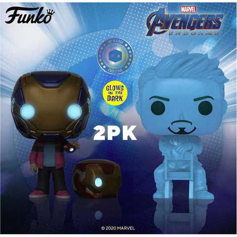 Image of Avengers 4: Endgame - Morgan & Hologram Tony Glow with Helmet US Exclusive Pop! Vinyl 2-Pack