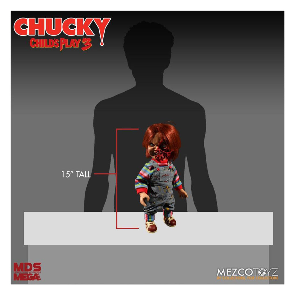 MEZCO TOYZ CHILDS PLAY 3 TALKING PIZZA FACE CHUCKY 15 INCH DOLL FIGURE