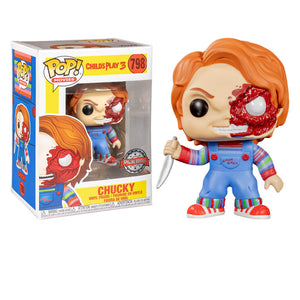 Childs Play - Chucky Half Battle Damaged US Exclusive Pop! Vinyl