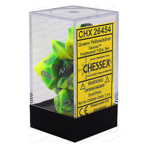 D7-Die Set Dice Gemini Polyhedral Green- Yellow/Silver (7 Dice in Display)