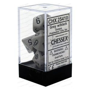 Opaque Polyhedral Grey/Black 7 Dice