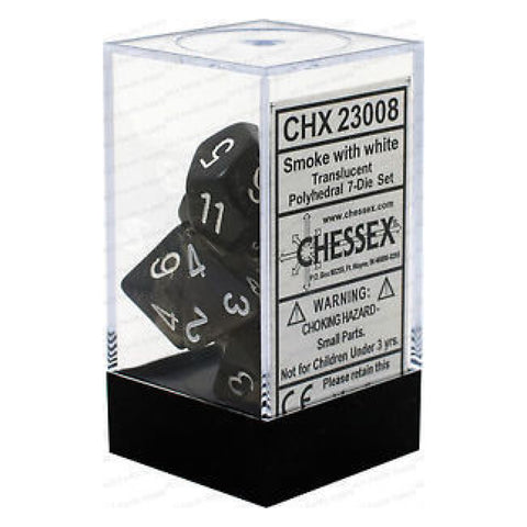 D-7 Set Dice Translucent Polyhedral smoke/White