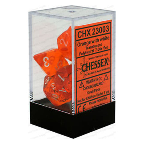 D7-Die Set Dice Translucent Polyhedral Orange/White (7 Dice in Display)