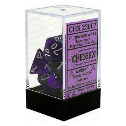 D7-Die Set Dice Translucent Polyhedral Purple/White (7 Dice in Display)