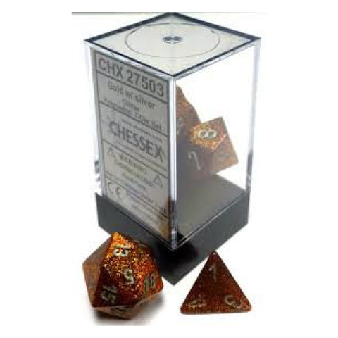 D7-Die Set Dice Glitter Polyhedral Gold/