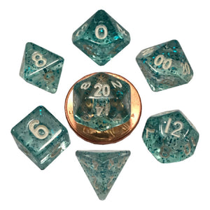 MDG Mini Polyhedral Dice Set White Numbers- Ethereal Light Blue