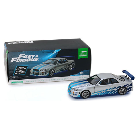 Image of 2 Fast 2 Furious (2003) 1:18 1999 Nissan Skyline GT-R Blue Neon LED