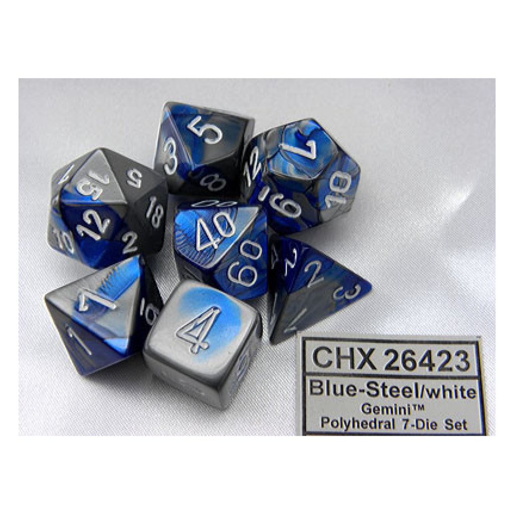 Gemini Polyhedral Blue-Steel w/white 7-Die Set