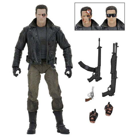 "Image of Terminator - 7"" Police Station Assault T-800 (Motorcycle Jacket) Action Figure"