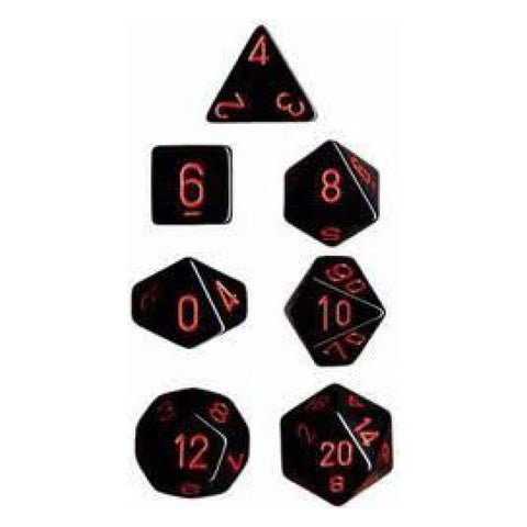 CHX 25418 Opaque Polyhedral Black/red 7-Die Set
