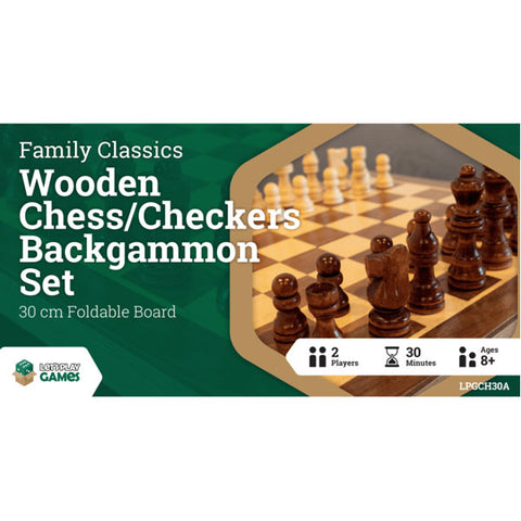 LPG Wooden Folding Chess/Checkers/Backgammon Set 30cm