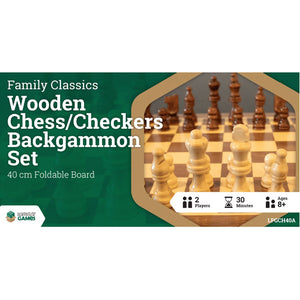LPG Wooden Folding Chess/Checkers/Backgammon Set 40cm
