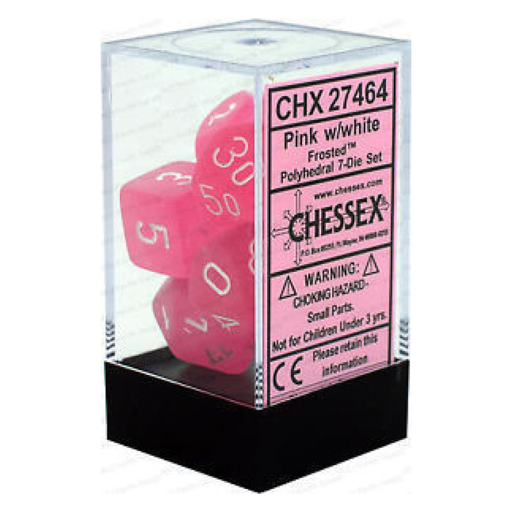 D7-Die Set Dice Frosted Pink/White