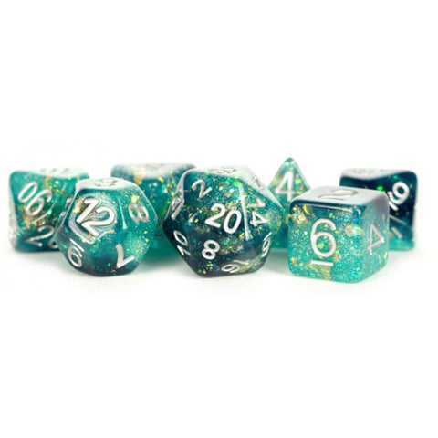 MDG Resin Eternal Polyhedral Dice Set 16mm - Teal/Black