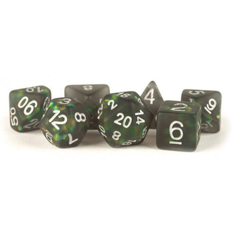 MDG Resin Icy Opal Dice Set 16mm Polyhedral - Black with Silver Numbers