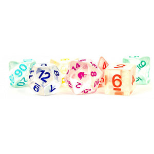 MDG Unicorn Resin Polyhedral Dice Set - Rainbow Ice