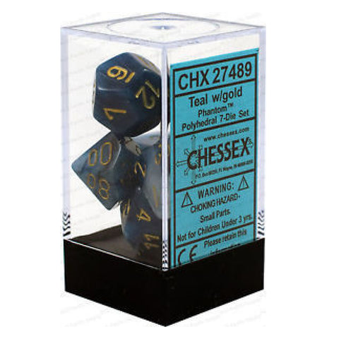 Phantom Teal W/Gold 7 Die Dice