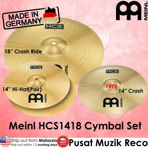 Meinl HCS1418 Basic Cymbal Set with Free 14inch Crash - Reco Music Malaysia