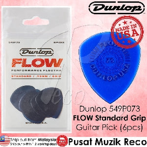 Jim Dunlop 549P073 Flow Standard Grip Guitar Pick 0.73mm Guitar Picks Player Pack - Reco Music Malaysia