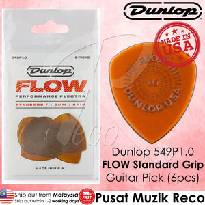 Jim Dunlop 549P100 Flow Standard Grip Guitar Pick 1.0mm Guitar Picks Player Pack - Reco Music Malaysia