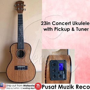 RM Concert Ukulele with Pickup Tuner Natural with Free Bag - Reco Music Malaysia