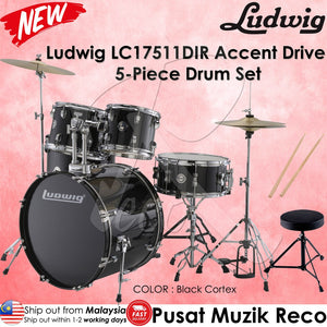 Ludwig LC17511DIR Black Cortex Accent Drive 5 Piece Drum Set | Reco Music Malaysia