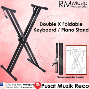 RM Foldable Portable Double X Keyboard Piano Stand - Reco Music Malaysia