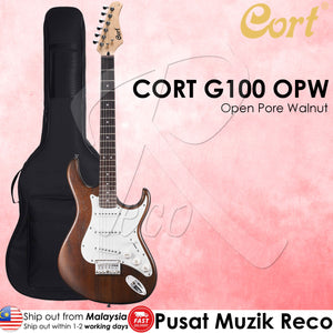 Cort G100 OPW Electric Guitar with Bag - Open Pore Walnut - Reco Music Malaysia