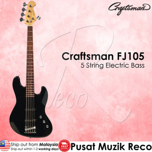 Craftsman FJ105 Black 5 String Electric Bass Guitar - Reco Music Malaysia