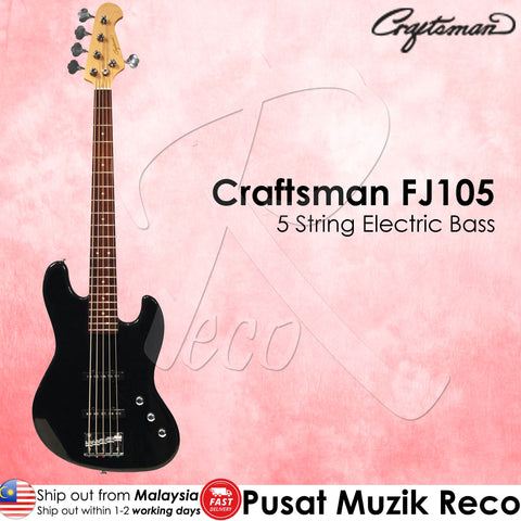 Craftsman FJ105 Black 5 String Electric Bass Guitar - Recomusic