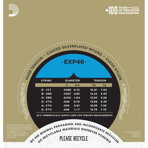 D'Addario EXP46 Coated Nylon Classical Guitar String Hard Tension - Reco Music Malaysia