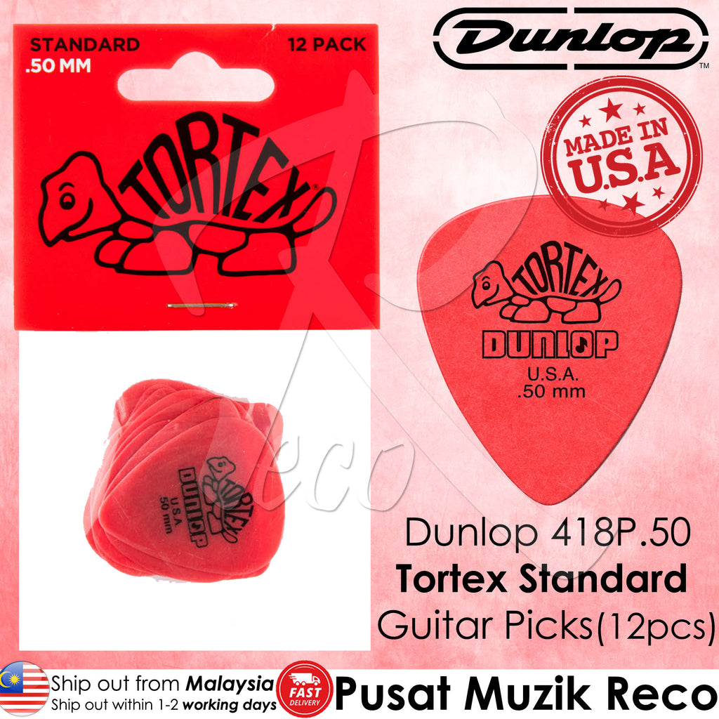 Jim Dunlop 418P Tortex Standard Guitar Picks Player Pack - Reco Music Malaysia