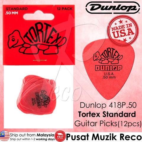 Jim Dunlop 418P Tortex Standard Guitar Picks Player Pack (12pcs)