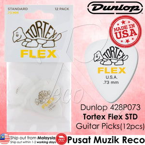 Jim Dunlop 428P073 Tortex Flex Standard 0.73mm Guitar Picks Player Pack - Reco Music Malaysia