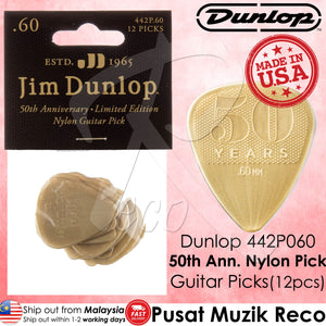 Jim Dunlop 442P060 50th Anniversary Gold Nylon Guitar Pick 0.60mm Guitar Picks Player Pack - Reco Music Malaysia