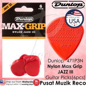 Jim Dunlop 471P3N Nylon Max Grip Jazz III 1.38mm Guitar Picks Player Pack - Reco Music Malaysia