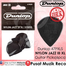 Load image into Gallery viewer, Dunlop 47PXLS NYLON Jazz III XL Black Stiffo Guitar Picks (6pcs) | Reco Music Malaysia