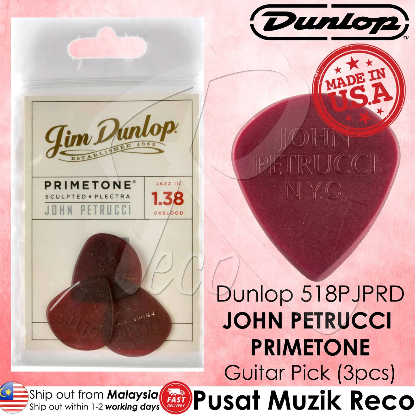 Jim Dunlop 518PJPRD John Petrucci Primetone Jazz III 1.38mm Guitar Picks Red(3pcs) | Reco Music Malaysia