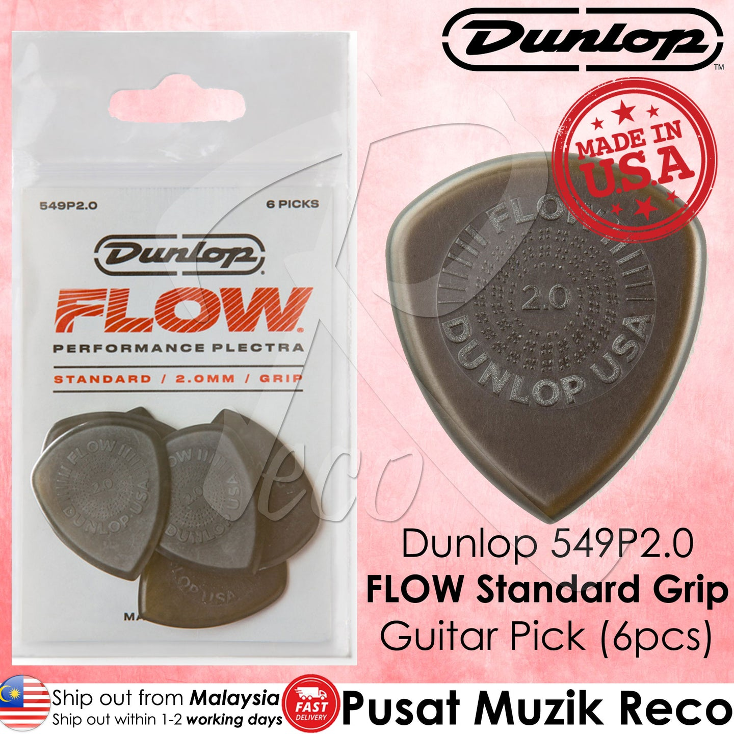 Jim Dunlop 540P200 Flow Standard Grip 2.0mm Guitar Pick Player Pack - Reco Music Malaysia