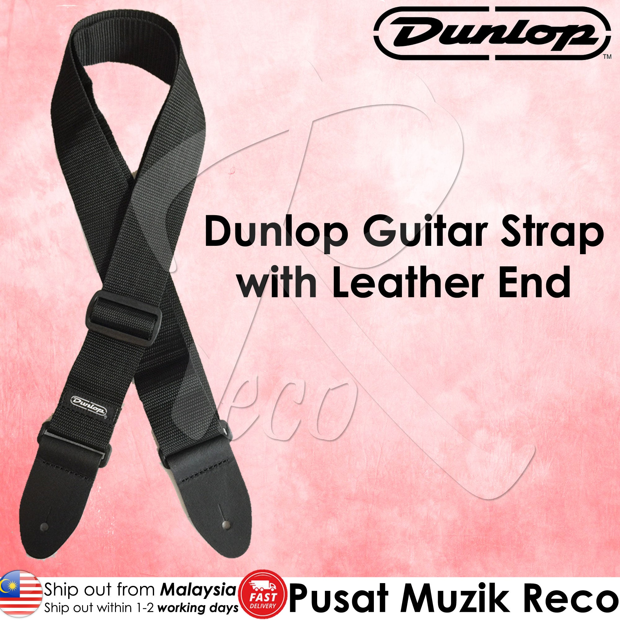 Dunlop D07-01BK Black 2in Poly Guitar Strap with Leather End - Reco Music Malaysia