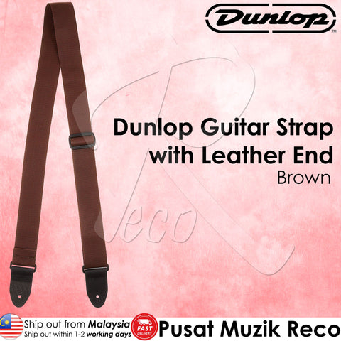 Jim Dunlop D07-01BR Brown 2in Poly Guitar Strap with Leather End | Reco Music Malaysia