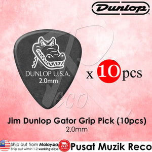 Jim Dunlop 417P2.0 Gator Grip Black Guitar Pick 2.0mm - Reco Music Malaysia