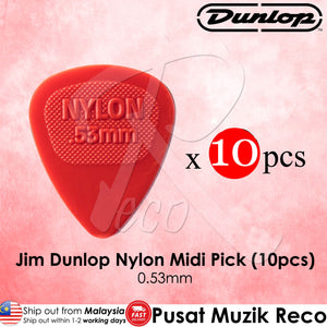 10 x Jim Dunlop Nylon Midi Guitar Pick 0.53mm Red - Reco Music Malaysia