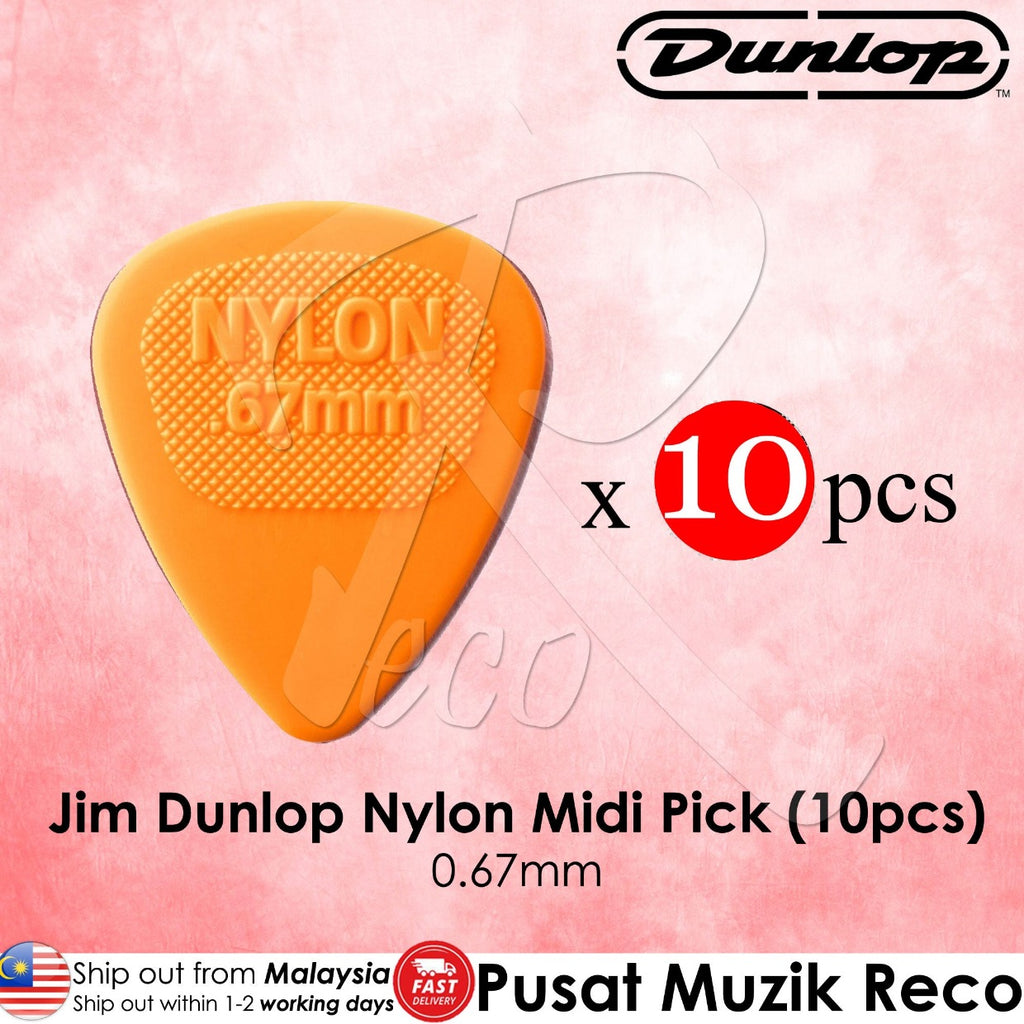 10 x Jim Dunlop Nylon Midi Guitar Pick 0.67mm Orange - Reco Music Malaysia