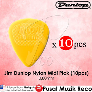 10 x Jim Dunlop Nylon Midi Guitar Pick 0.80mm Yellow - Reco Music Malaysia