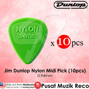10 x Jim Dunlop Nylon Midi Guitar Pick 0.94mm Green - Reco Music Malaysia