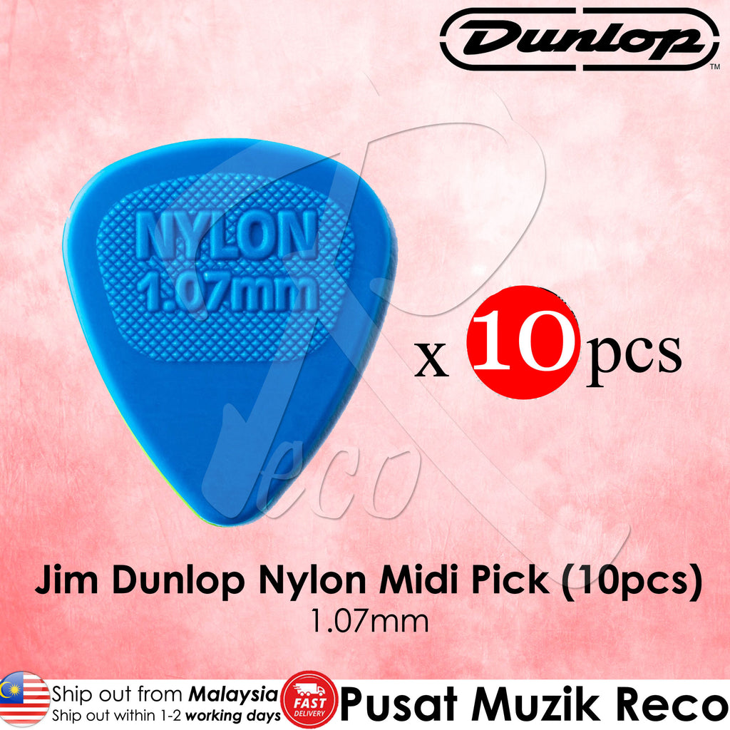10 x Jim Dunlop Nylon Midi Guitar Pick 1.07mm Blue - Reco Music Malaysia