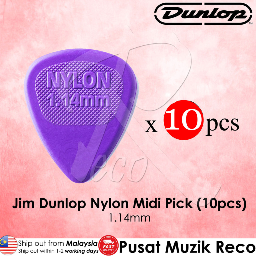 10 x Jim Dunlop Nylon Midi Purple Guitar Pick 1.14mm - Reco Music Malaysia