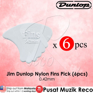 6 X Jim Dunlop Nylon Fins Guitar Pick 0.42mm - Reco Music Malaysia